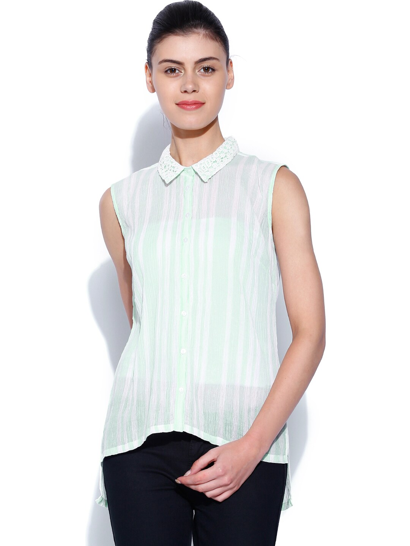 Allen Solly Woman Green & White Striped Shirt