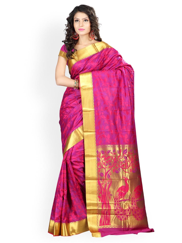 Varkala Silk Sarees Pink Jacquard Traditional Saree
