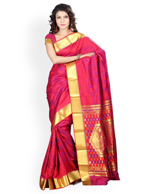 Varkala Silk Sarees Red Jacquard Traditional Saree