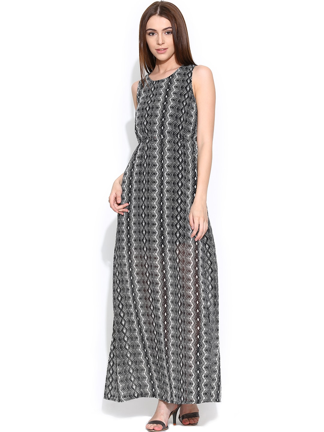 ONLY Black & Off-White Printed Maxi Dress