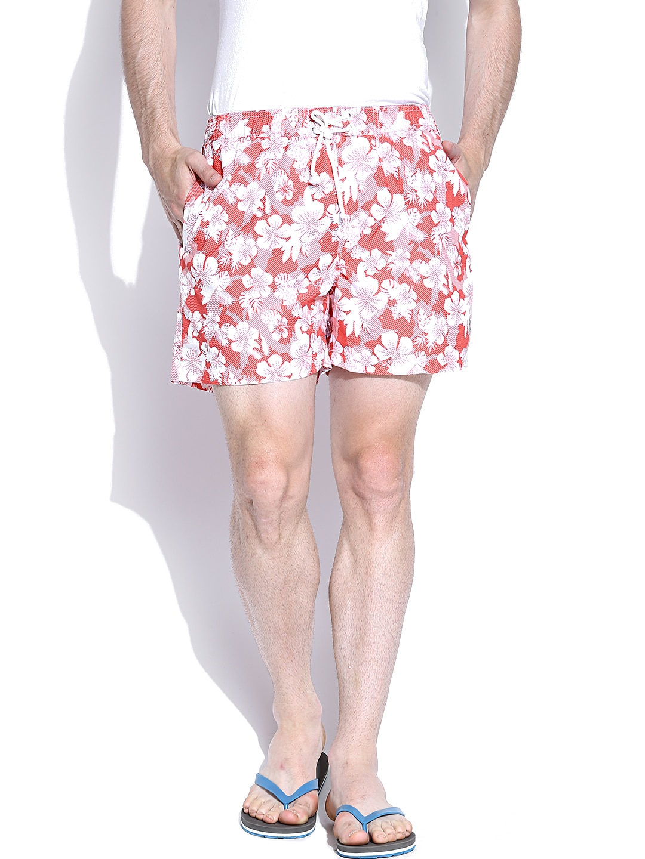 IZOD Orange & White Floral Print Shorts