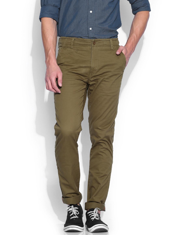 IZOD Olive Green Slim Fit Trousers