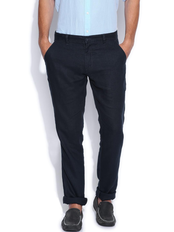 IZOD Navy Slim Fit Linen Trousers