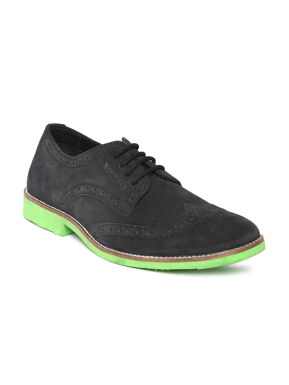 Woodland Men Black Suede Brogue Casual Shoes