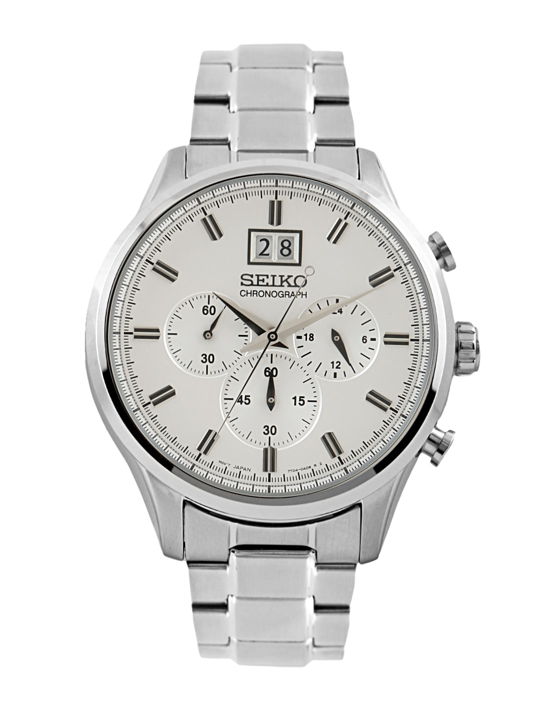 SEIKO Men Silver-Toned Chronograph Dial Watch SPC079P1