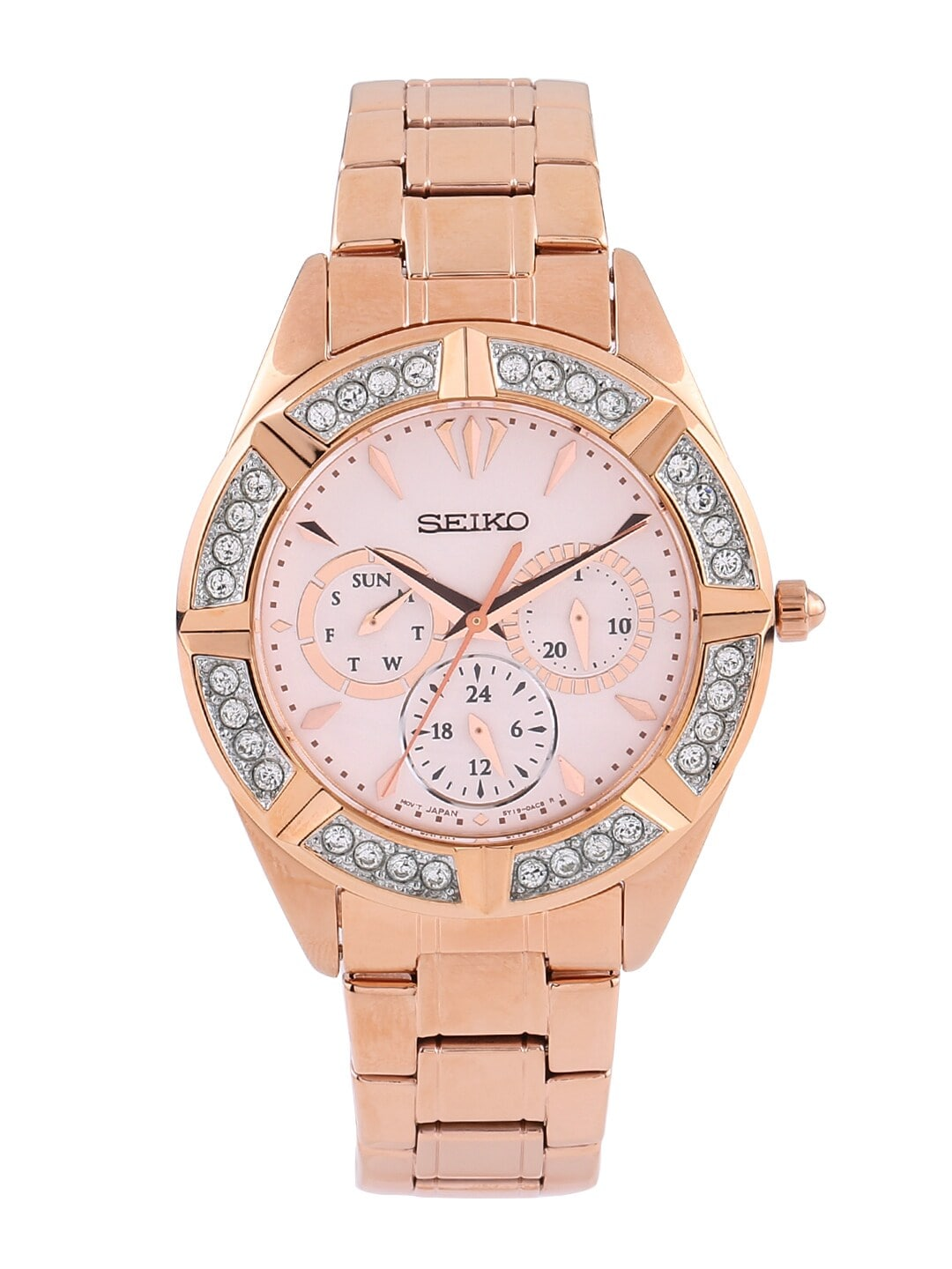 SEIKO Women Rose Gold-Toned Swarovski Dial Watch SKY680P1