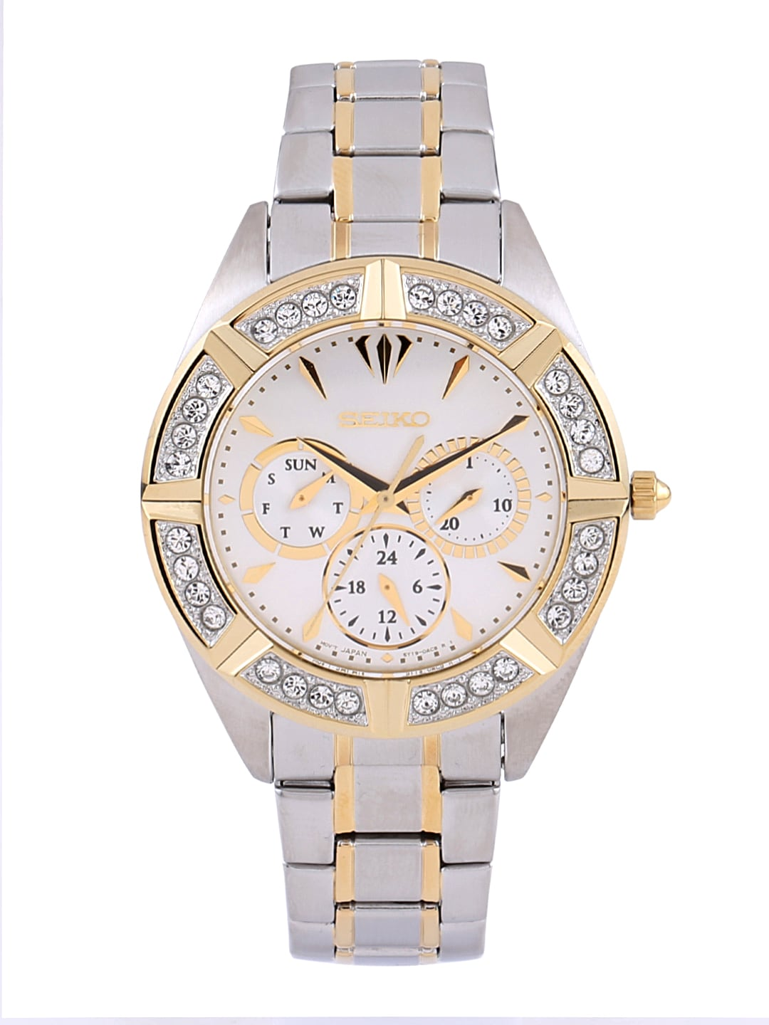 SEIKO Women Silver-Toned Swarovski Dial Watch SKY676P1