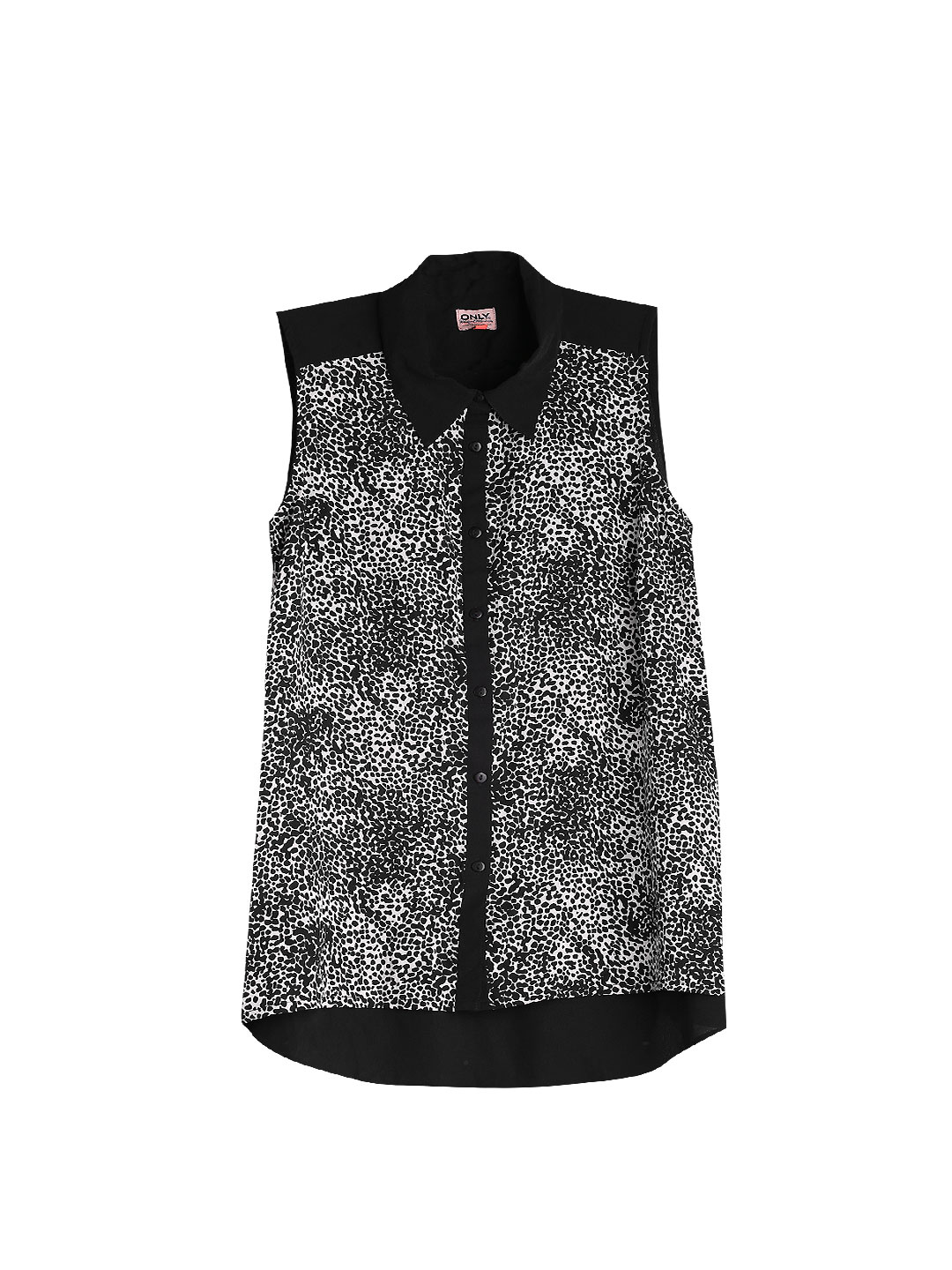 ONLY Black & Off-White Printed Shirt