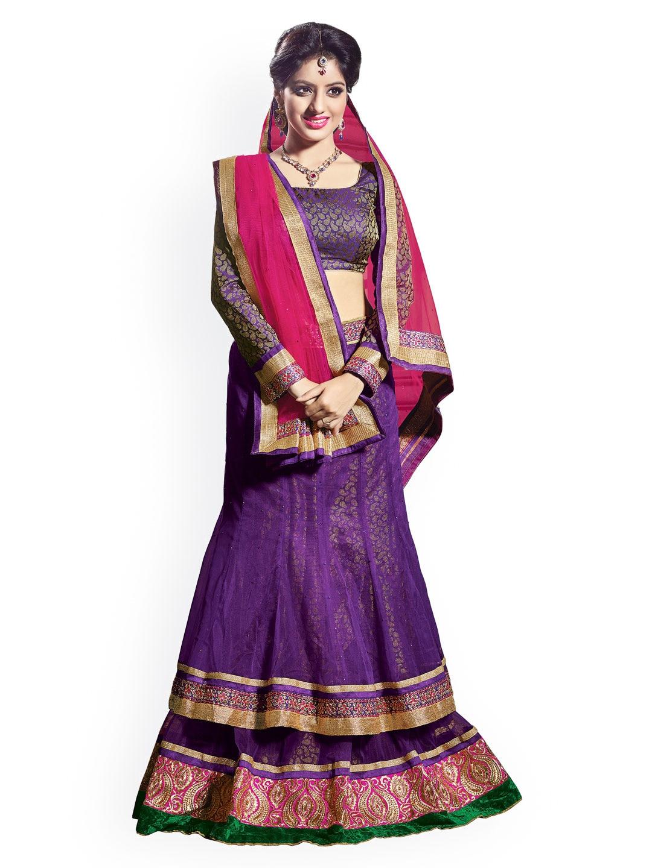 Florence Purple Net Semi-Stitched Lehenga Choli Material with Dupatta