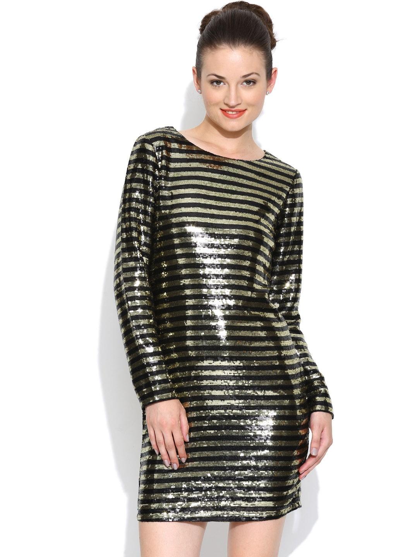Vero Moda by Karan Johar Black & Golden Sheath Dress