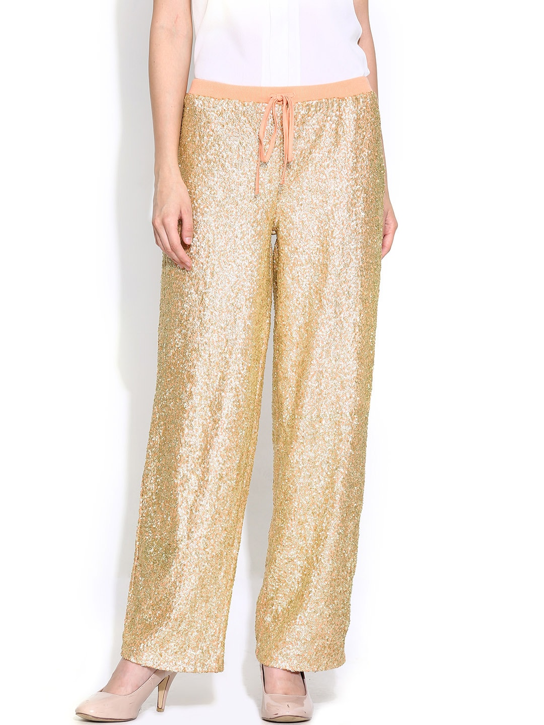 Vero Moda by Karan Johar Golden Sequinned Palazzo Trousers