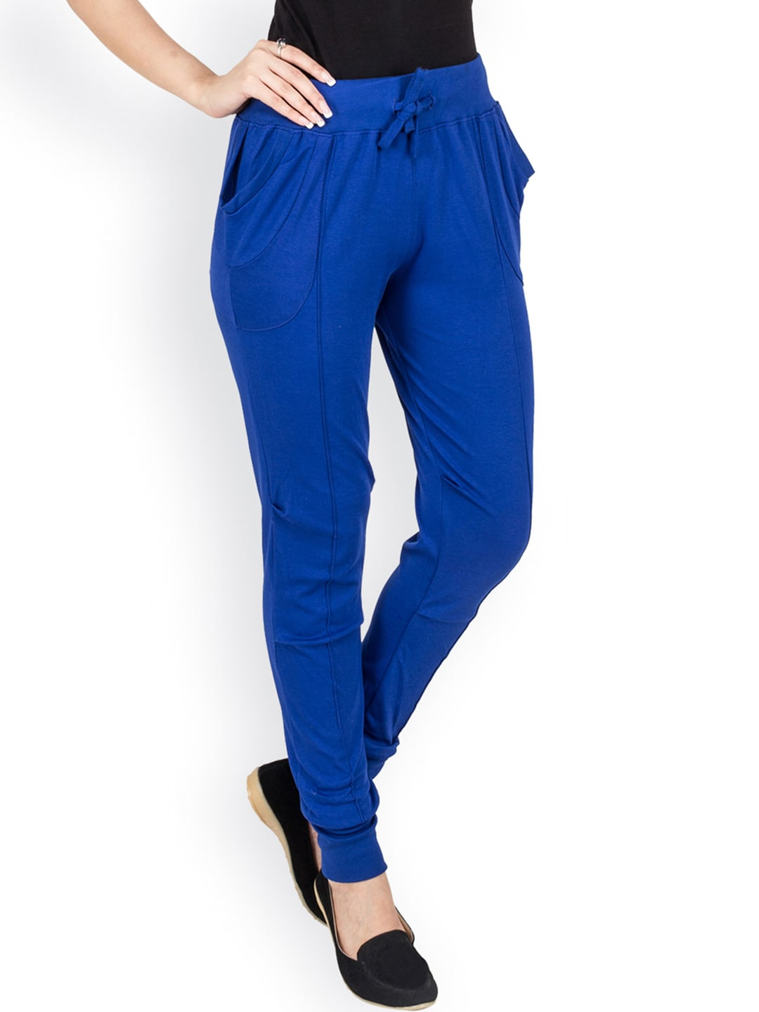 Campus Sutra Blue Panelled Track Pants