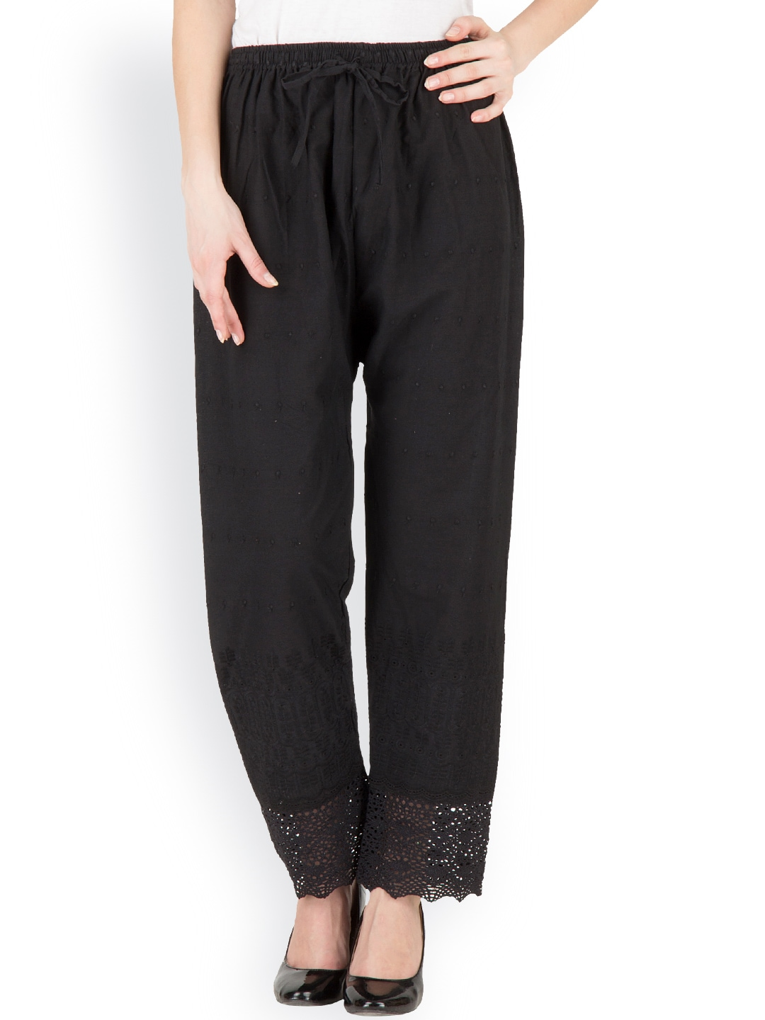 Castle Black Embroidered Palazzo Trousers