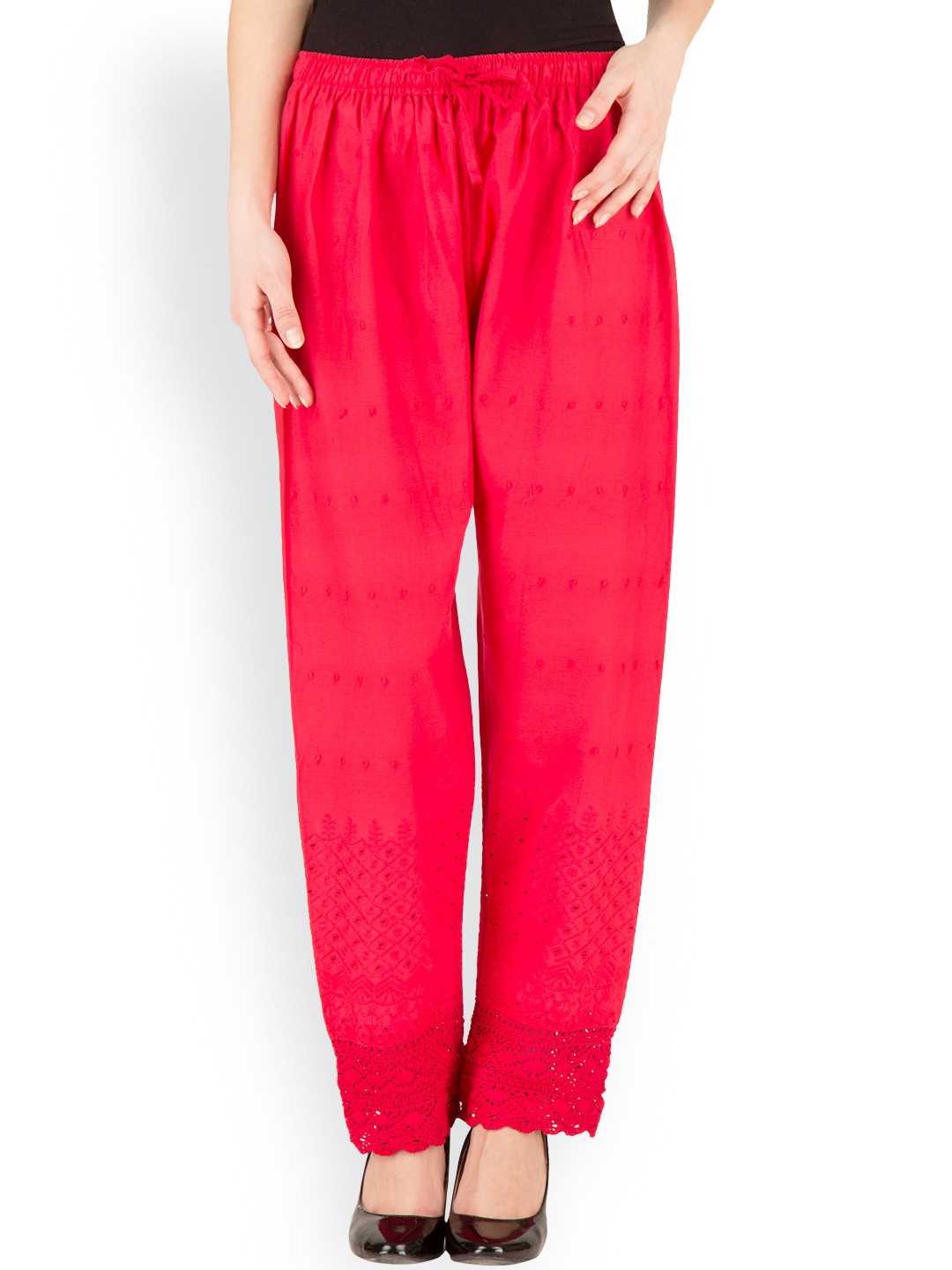 Castle Red Embroidered Palazzo Trousers