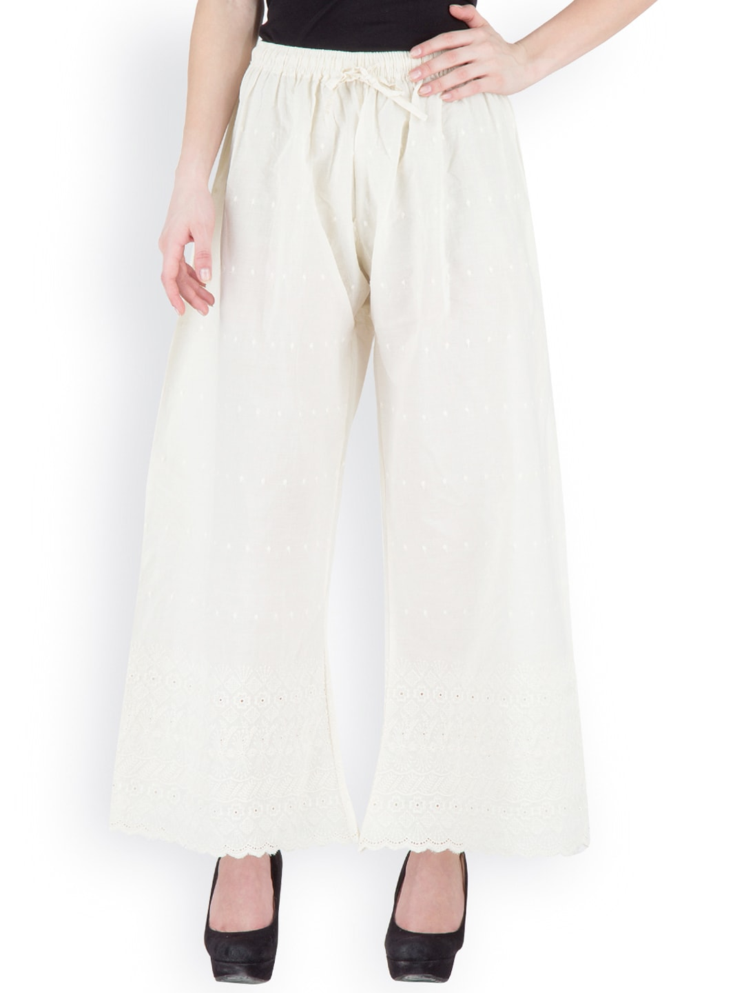Castle Off-White Embroidered Palazzo Trousers