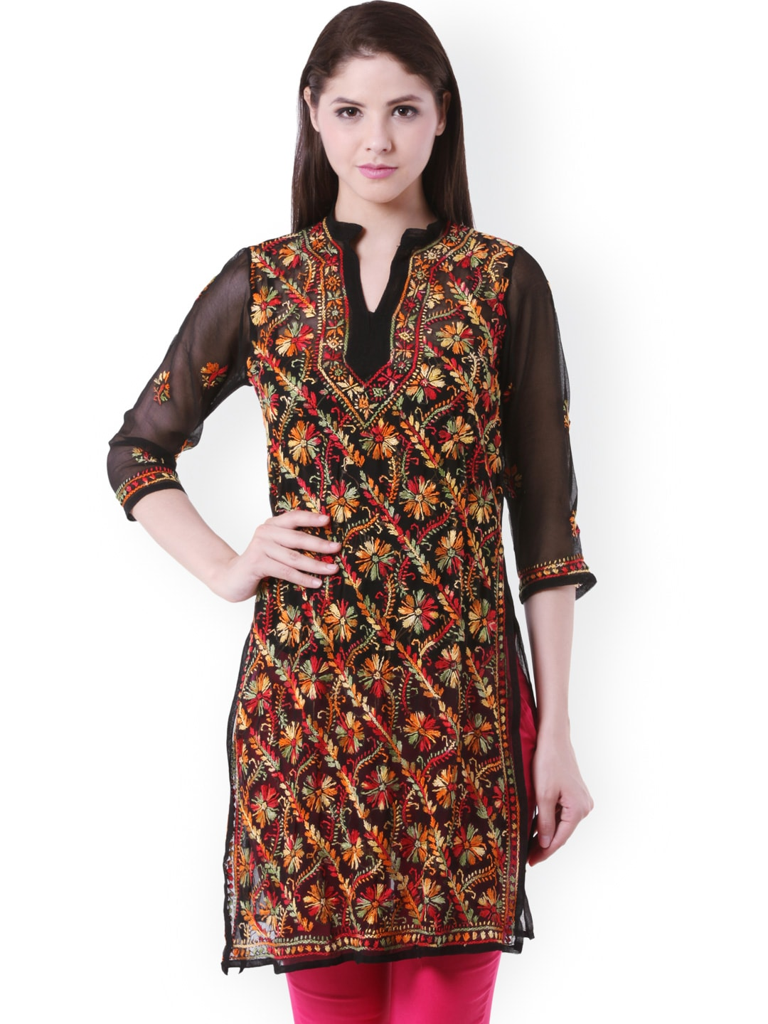 Buy Saadgi Black Lucknowi Chikan Embroidered Kurta ...