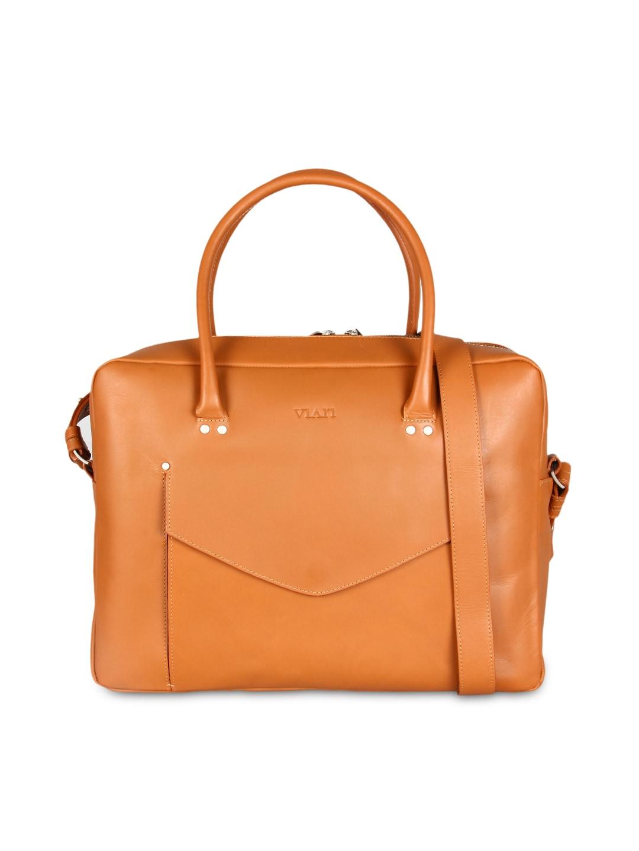 VIARI Tan Brown Leather Shoulder Bag
