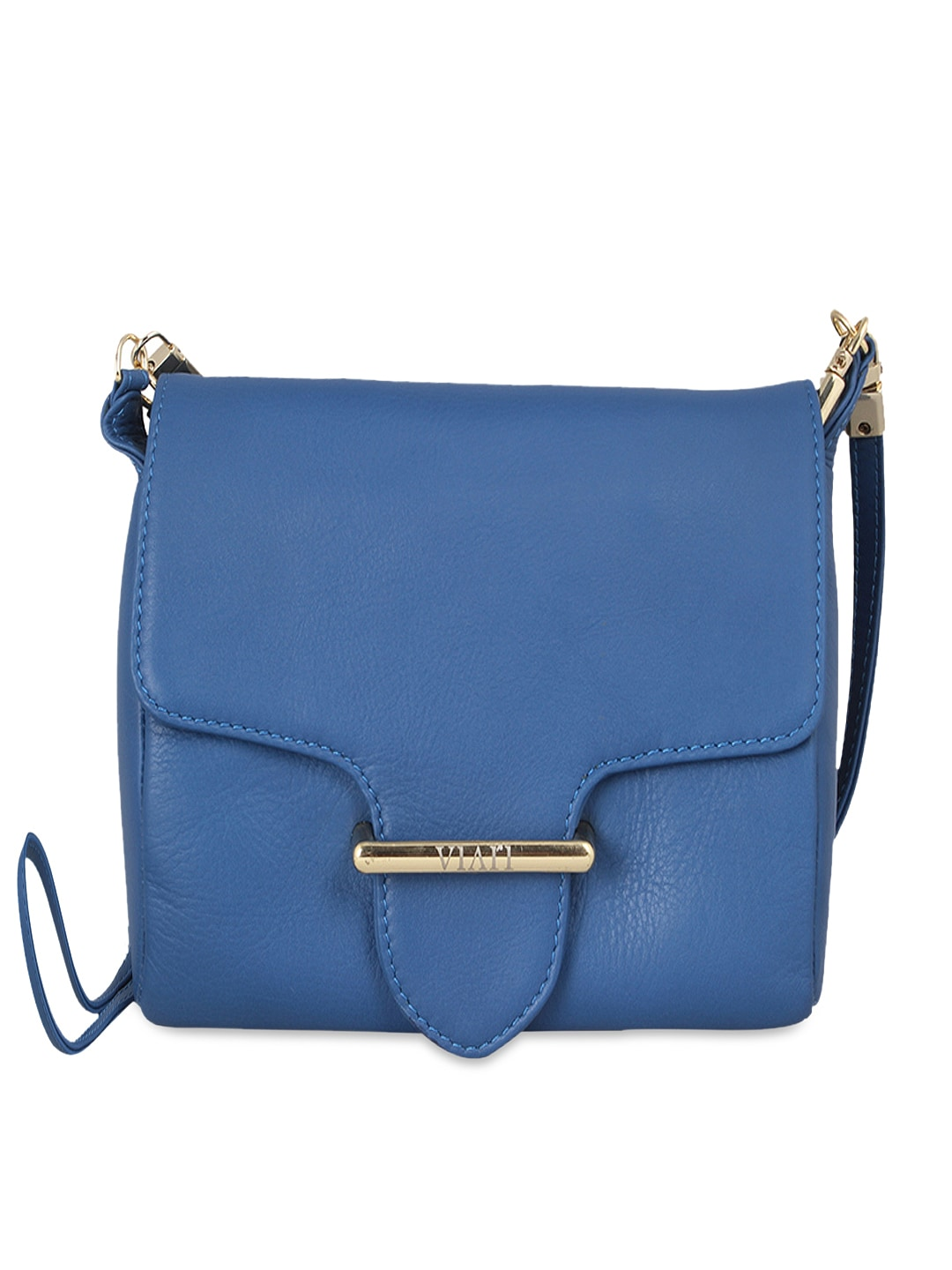 VIARI Blue Cannes Leather Sling Bag
