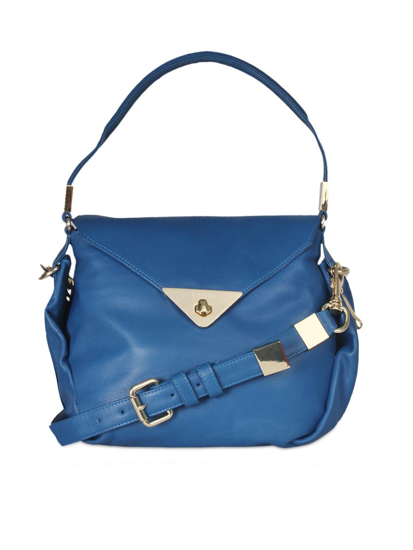 VIARI Blue CANNES Leather Shoulder Bag