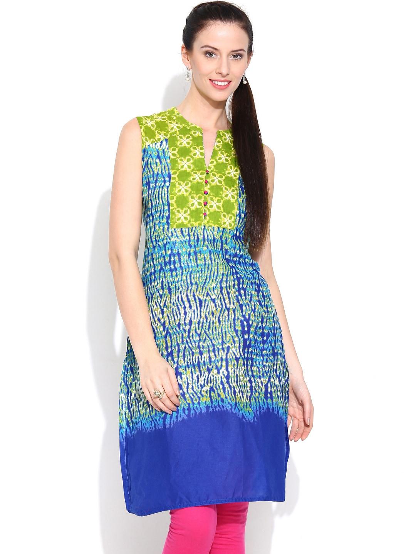 Rangmanch by Pantaloons Blue & Green Printed Kurta