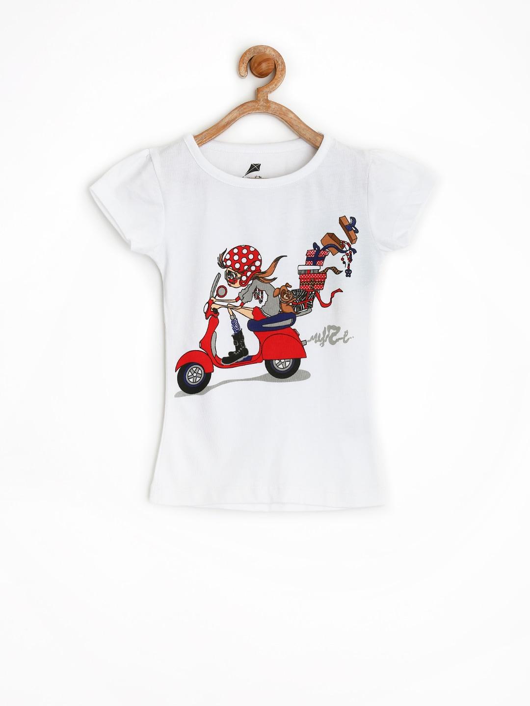 YK Girls White Printed T-shirt
