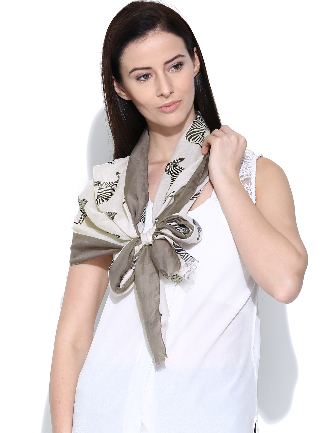 Citypret Cream-Coloured Zebra Print Stole