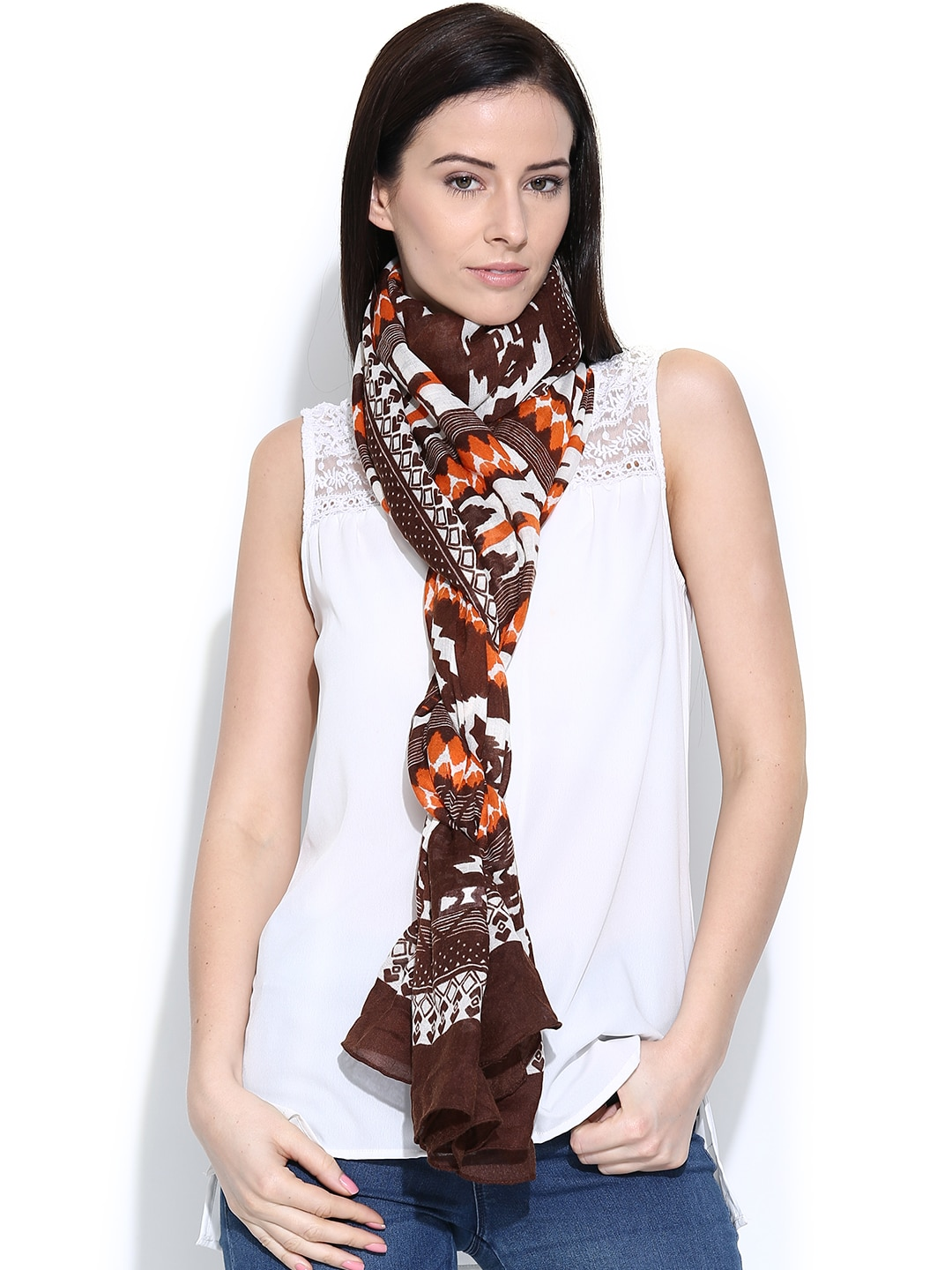 Citypret Brown Printed Stole
