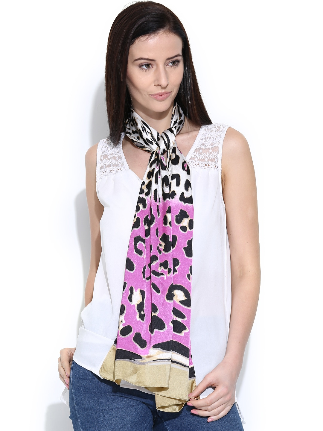 Citypret Off-White & Pink Leopard Print Stole
