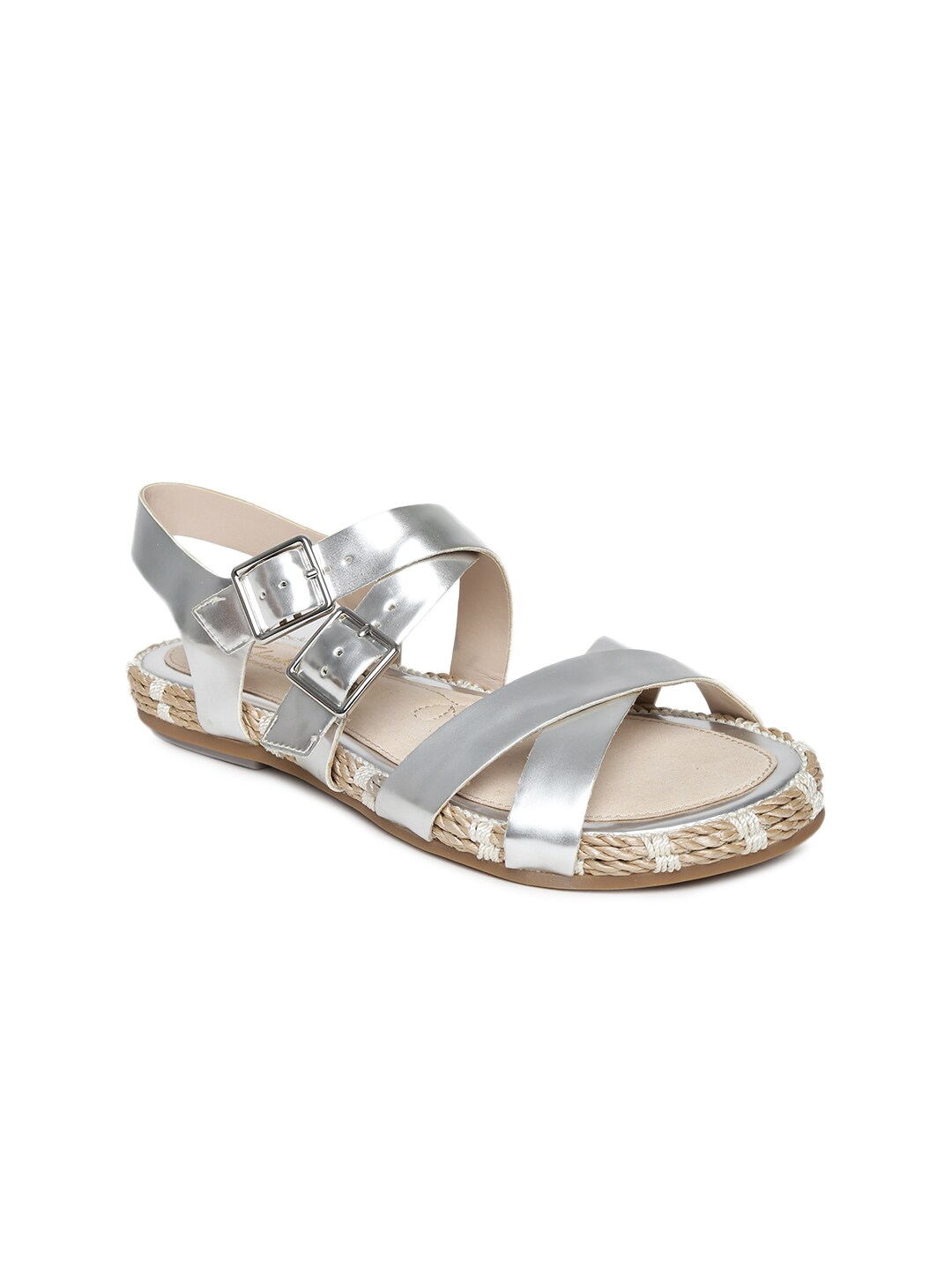 Clarks Women Silver-Toned Leather Sandals