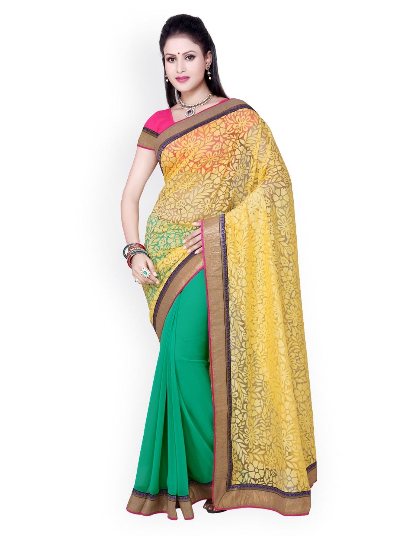 Saree Swarg Yellow & Sea Green Faux Chiffon & Net Fashion Saree