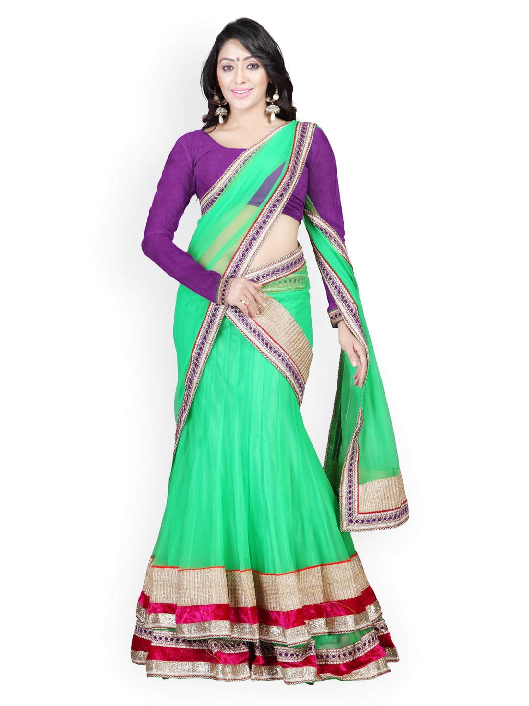 Florence Green Embroidered Georgette Semi-Stitched Lehenga Choli Material with Dupatta