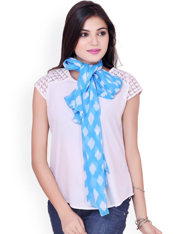 Dupatta Bazaar Blue & White Printed Stole