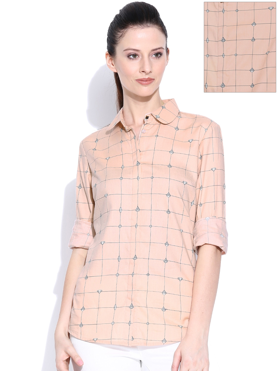 Wills Lifestyle Peach-Coloured Printed Formal Shirt