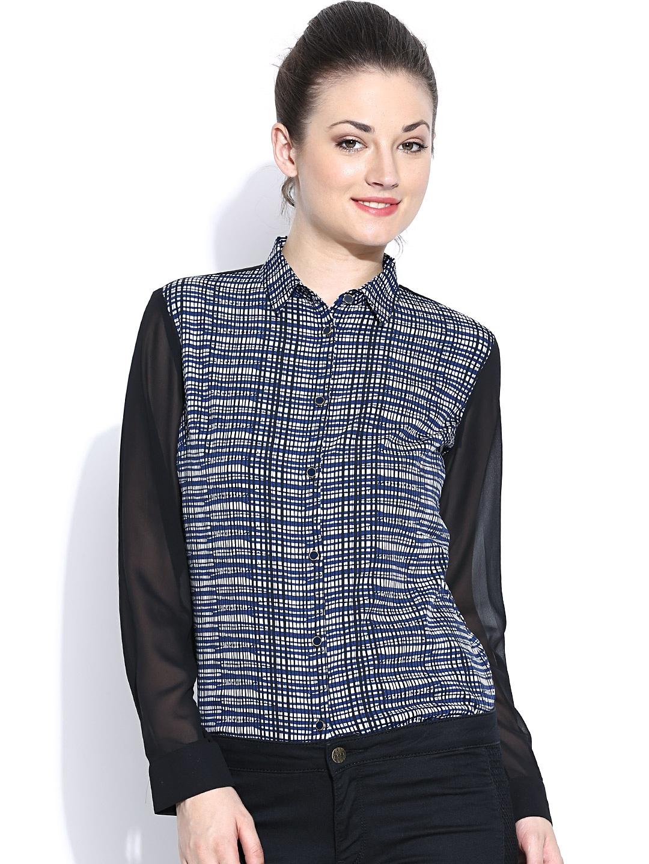 Wills Lifestyle Blue & Black Printed Formal Shirt
