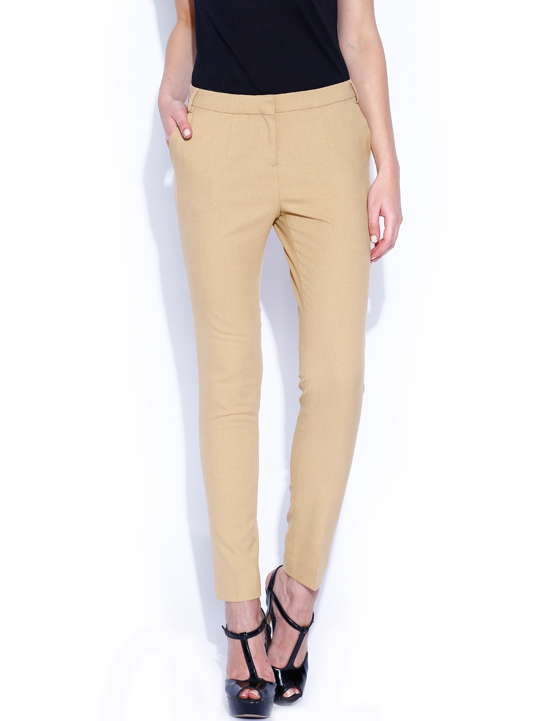 Wills Lifestyle Khaki Slim Trousers