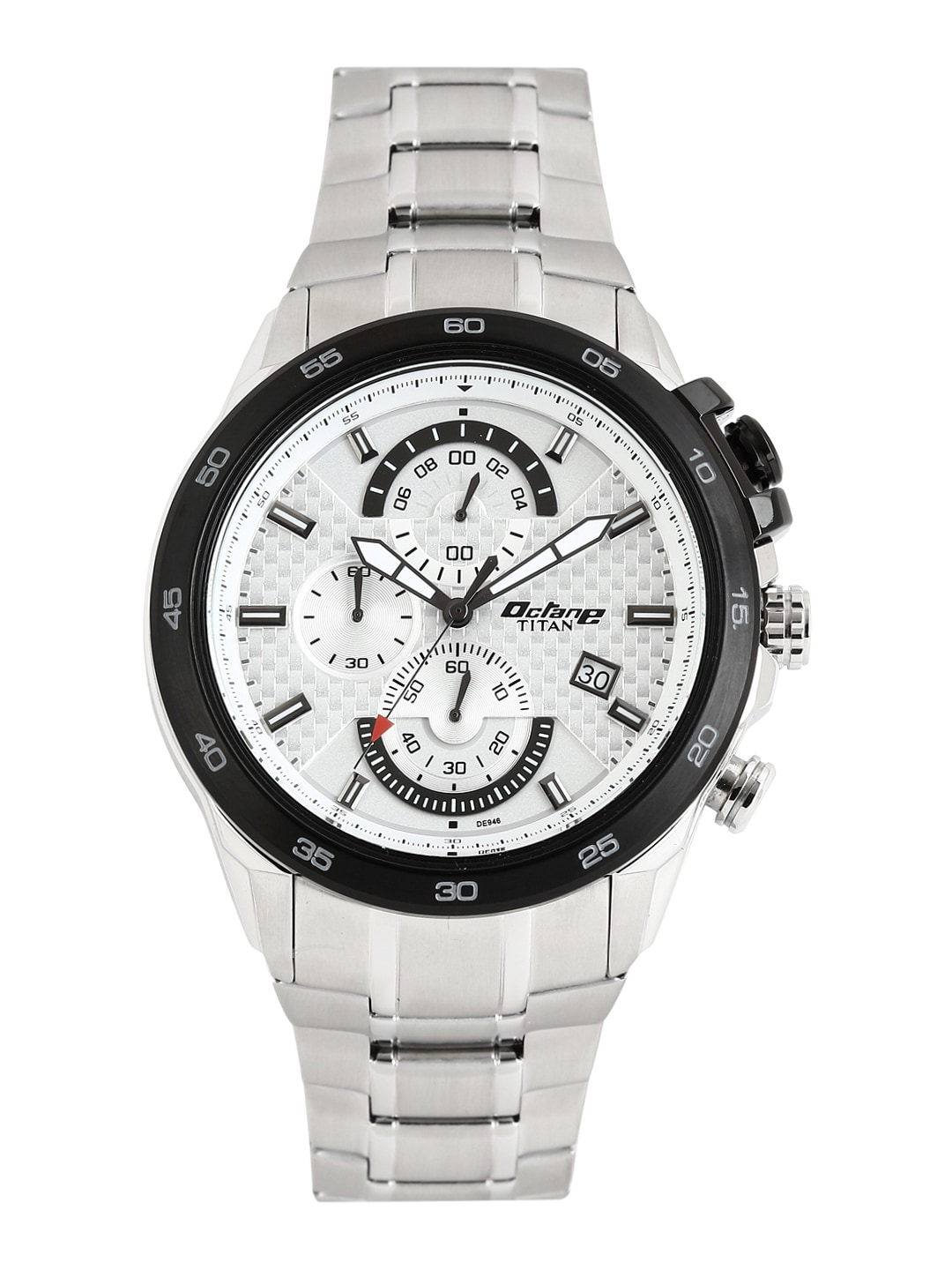 Octane by Titan Men Silver-Toned Dial Chronograph Watch 90046KM01