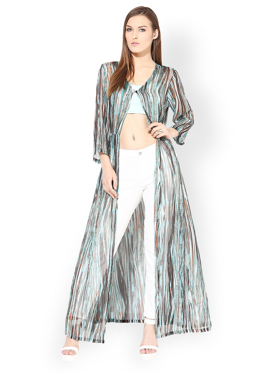 Harpa Sea Green Printed Long Shrug