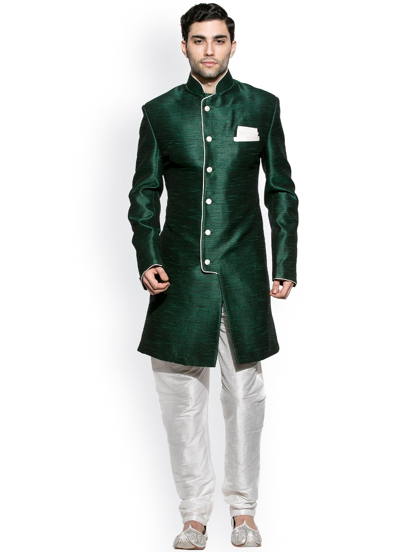 Amora Green & White Sherwani