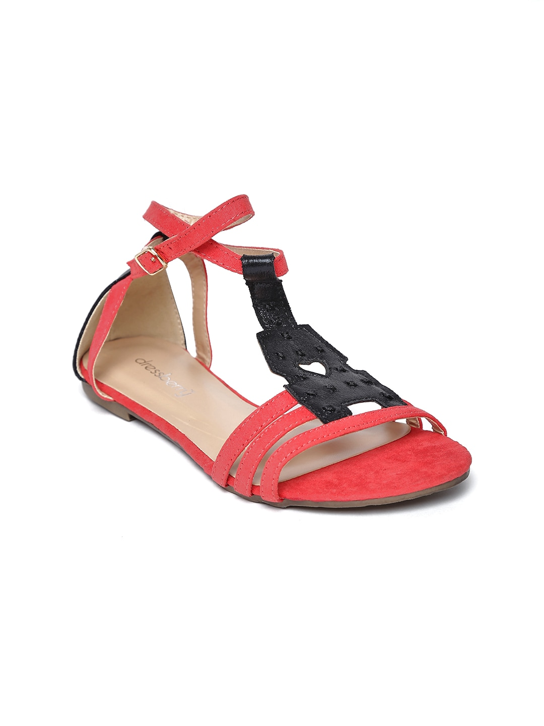DressBerry Women Red & Black Sandals