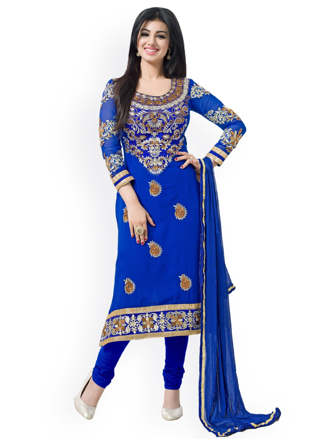 Blissta Blue Faux Georgette Semi-Stitched Dress Material