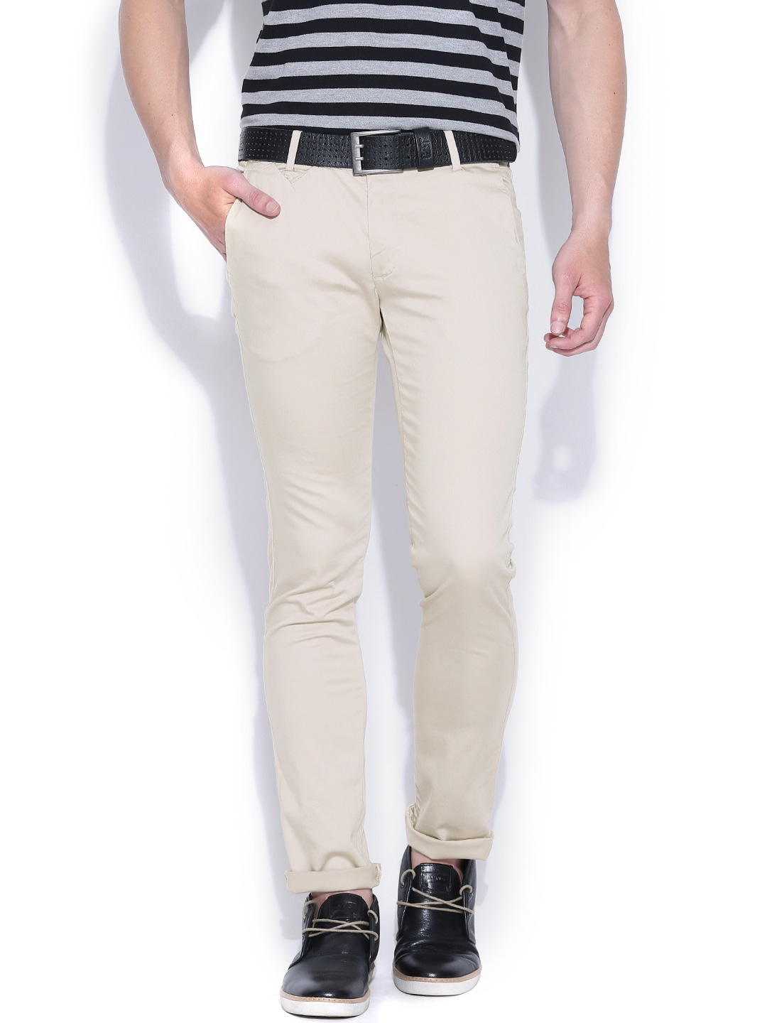 John Players Beige Skinny Fit Casual Trousers