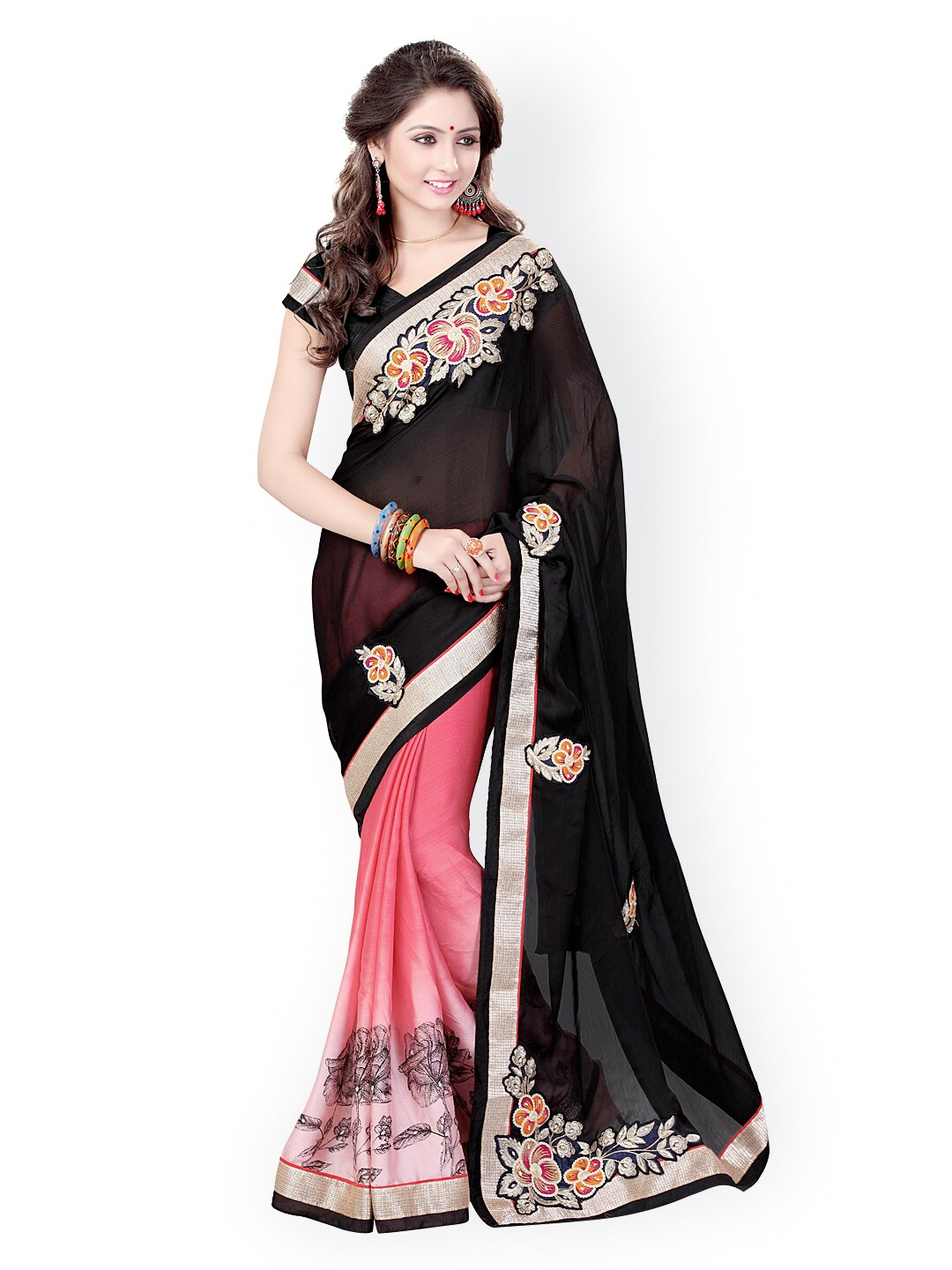 e5a6b25f7bf Satin Sarees - Appealing Satin Sarees Collection Online in India - Myntra