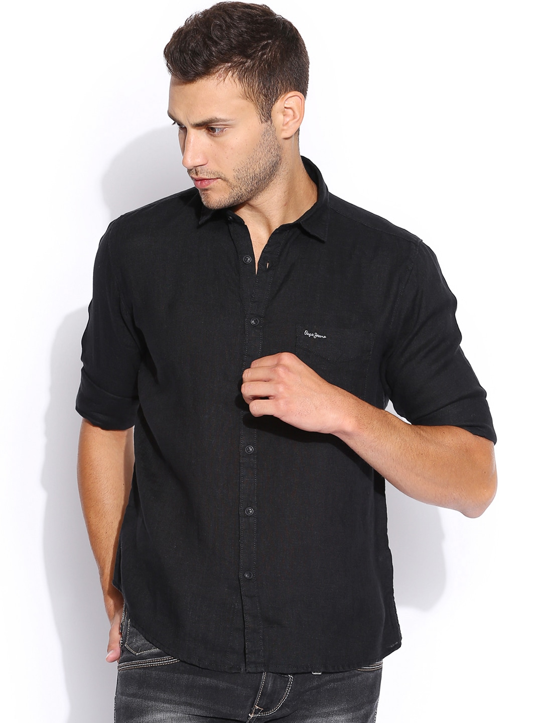 Pepe Jeans Black Linen Semi Fit Casual Shirt