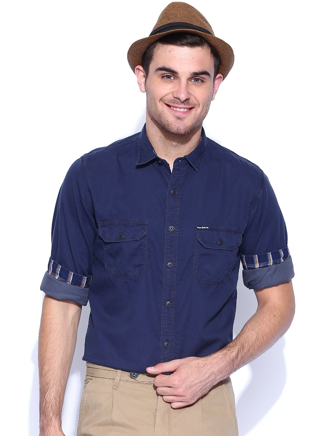 Pepe Jeans Navy Semi Fit Casual Shirt