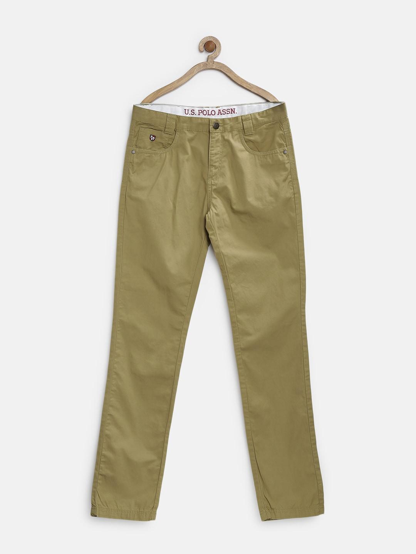 U.S. Polo Assn. Kids Boys Light Olive Green Chino Trousers
