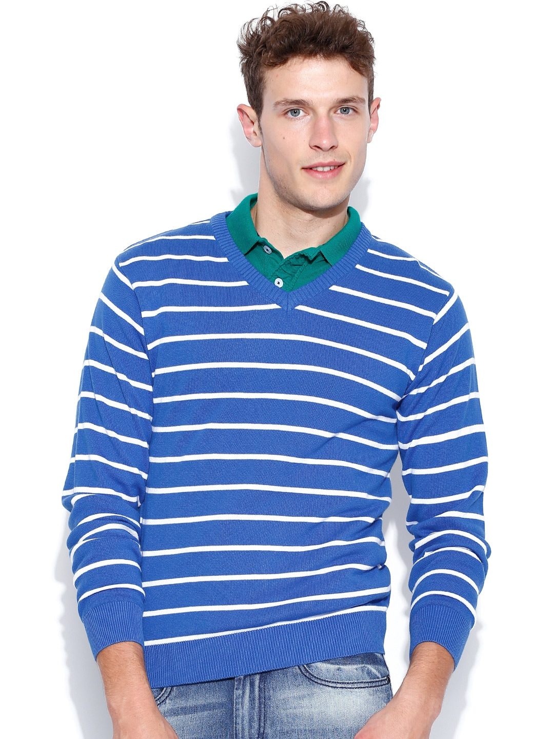 People Blue & White Striped Sweater