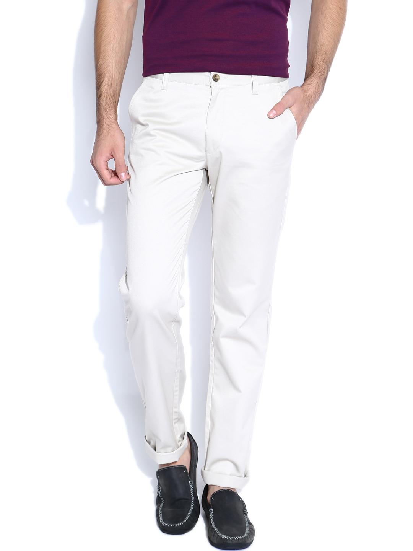 Arrow Sport Light Beige Slim Fit Trousers
