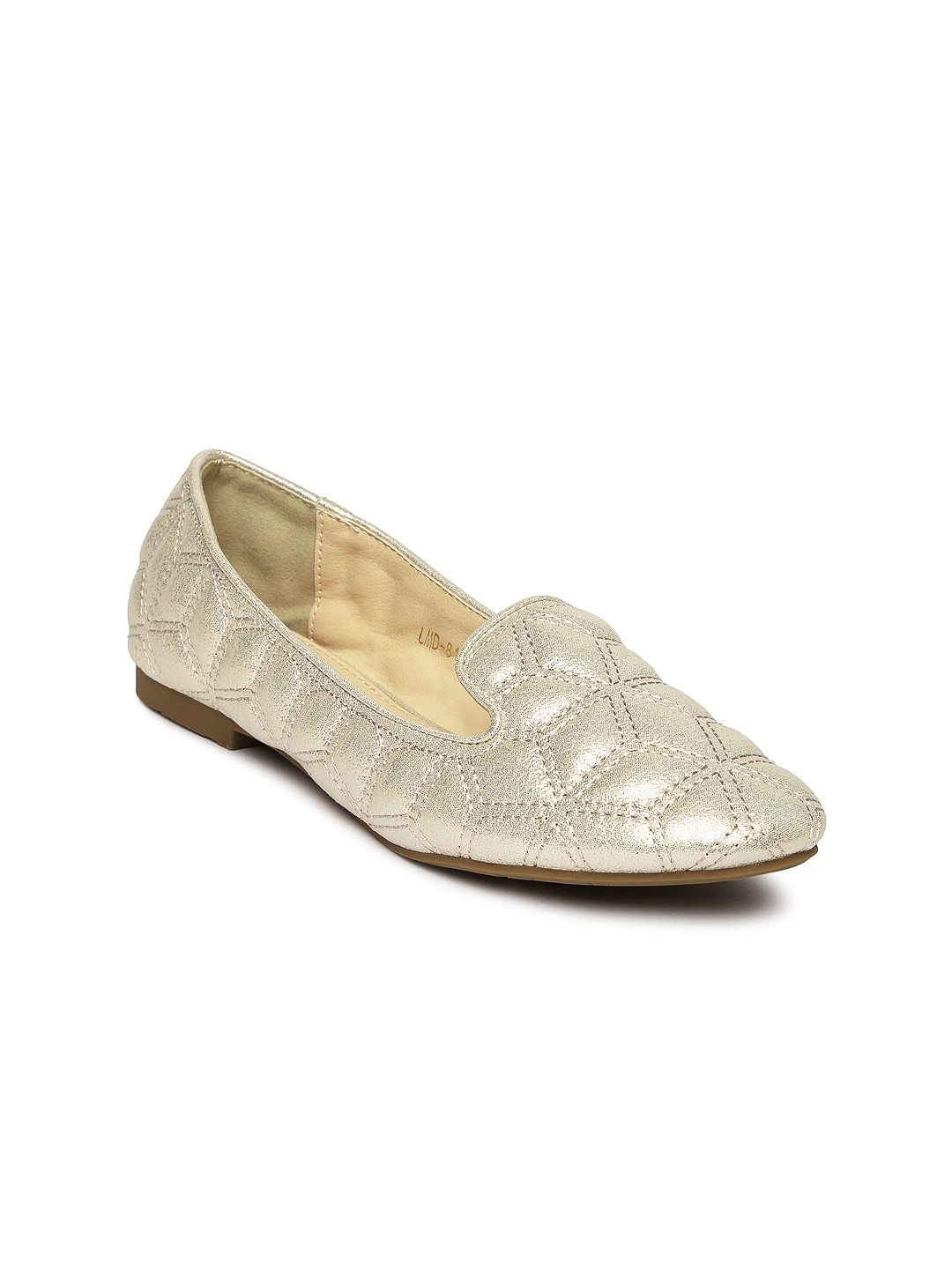 Tresmode Gold-Toned Flat Shoes