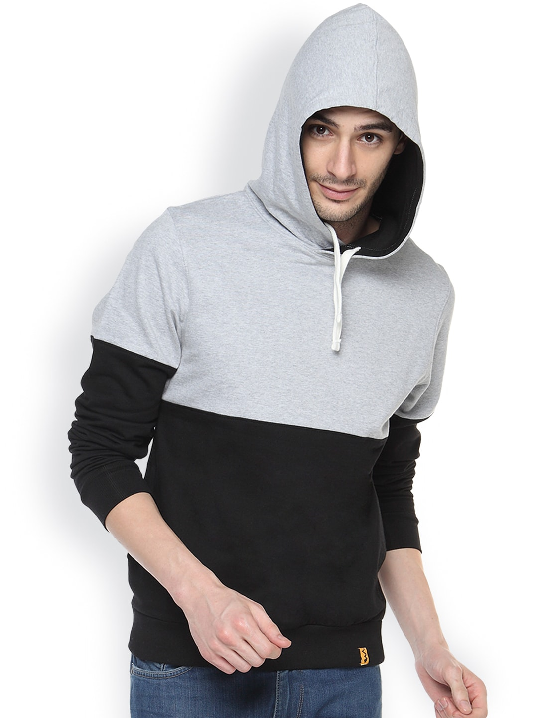Campus Sutra Black & Grey Hooded Sweatshirt