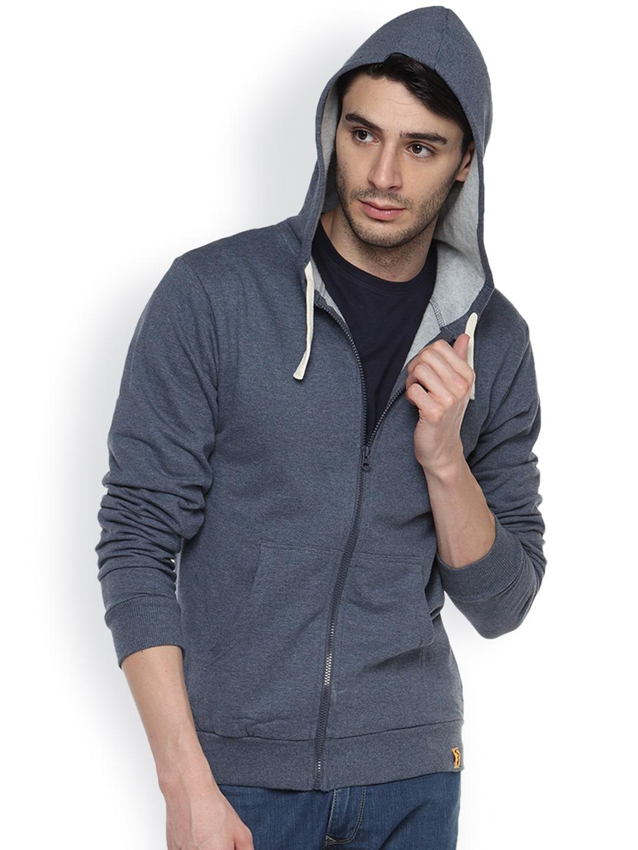 Campus Sutra Blue Denim Hooded Sweatshirt